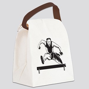 Track and Field Athlete Jumping H Canvas Lunch Bag