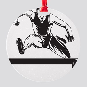 Track and Field Athlete Jumping Hur Round Ornament