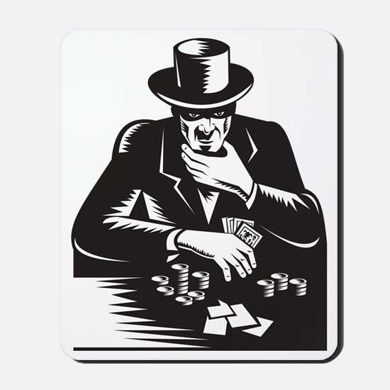 Poker Player Gambler Gambling Retro Mousepad