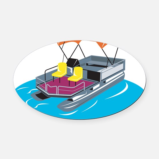 Pontoon Boat Retro Oval Car Magnet