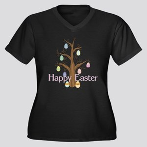 Happy Easter - Egg Tree Women's Plus Size V-Neck D