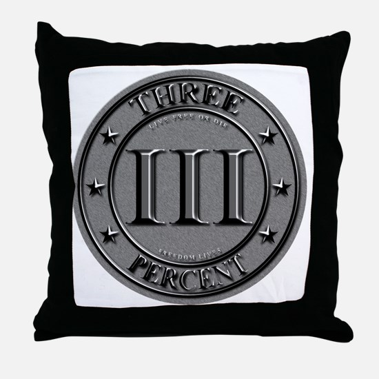 Three Percent Silver Throw Pillow