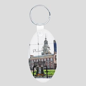 Philadephia_LibertyBell_Ind Aluminum Oval Keychain