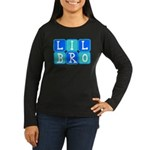 Lil Bro (Blue/Green) Women's Long Sleeve Dark T-Sh