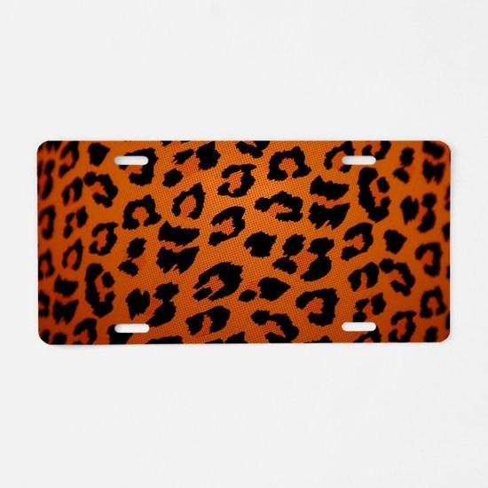 leopard Aluminum License Plate