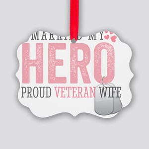 I Married my Hero Picture Ornament