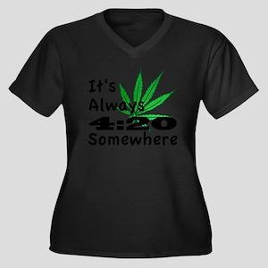 420 Women's Plus Size Dark V-Neck T-Shirt