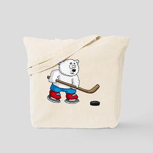 polar bear playing hockey comic cartoon Tote Bag