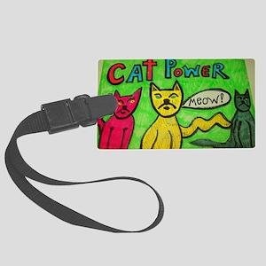 CAT POWER cartoon artwork design Large Luggage Tag