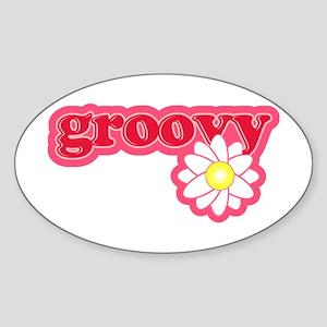 Groovy Flower Daisy Oval Sticker
