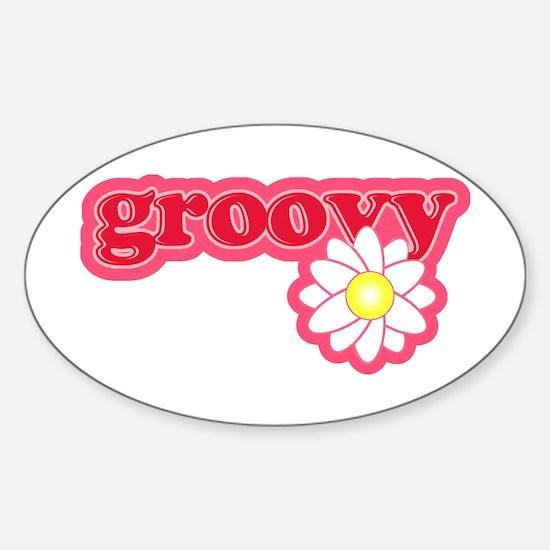 Groovy Flower Daisy Oval Decal