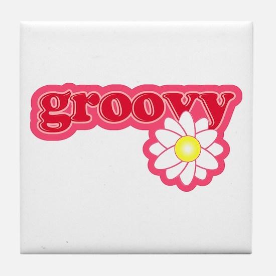 Groovy Flower Daisy Tile Coaster