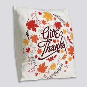 Give Thanks Burlap Throw Pillow