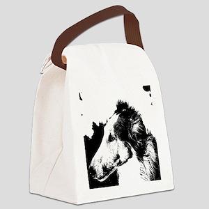 Black & White Borzoi Canvas Lunch Bag