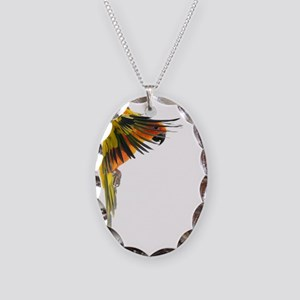 Sun Conure in flight Steve Dun Necklace Oval Charm