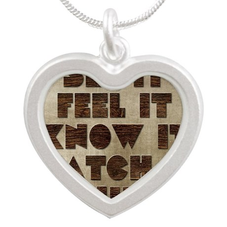 Card See it feel it know it Silver Heart Necklace