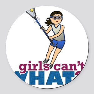 Girl Lacrosse Player in Blue Round Car Magnet