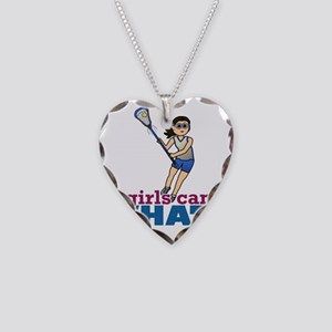 Girl Lacrosse Player in Blue Necklace Heart Charm