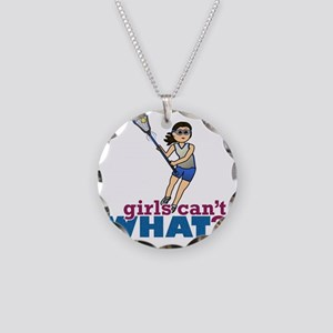 Girl Lacrosse Player in Blue Necklace Circle Charm