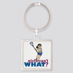 Girl Lacrosse Player in Blue Square Keychain