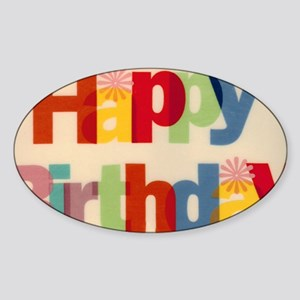 Happy Birthday Sticker (Oval)