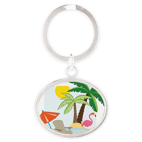Summer Beach Oval Keychain
