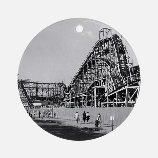 Coney Island Cyclone Roller Coaster Round Ornament