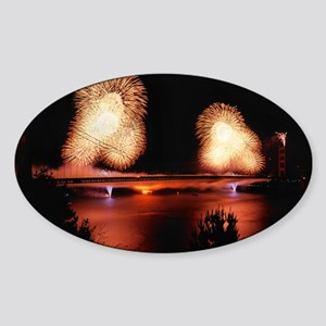 Fireworks - GG Bridge Sticker (Oval)