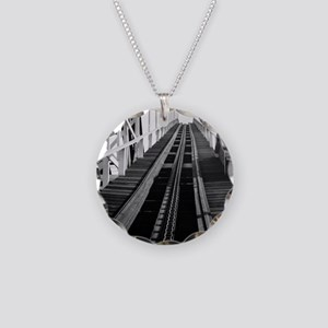 Coney Island Roller Coaster  Necklace Circle Charm
