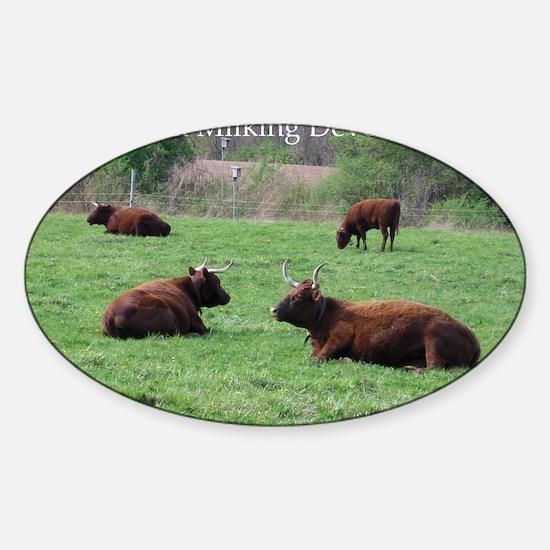 Milking Devon Cattle Sticker (Oval)