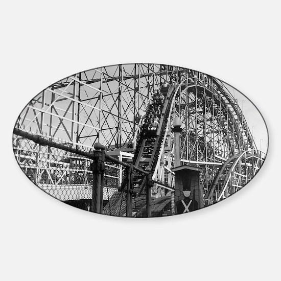 Coney Island Cyclone Roller Coaster Sticker (Oval)