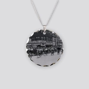 Coney Island Bicyclist 18266 Necklace Circle Charm