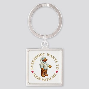 SLEEP WITH ME TEDDY GOLD copy Square Keychain