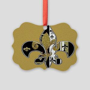 Black and gold fleur de lis Picture Ornament
