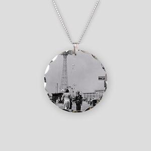 Coney Island Parachute Jump Necklace Circle Charm