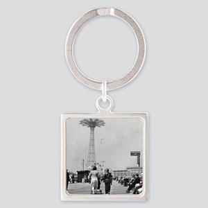 Coney Island Parachute Jump 182657 Square Keychain
