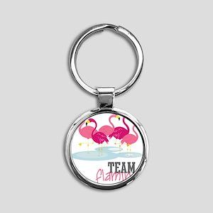 Team Flamingo Round Keychain