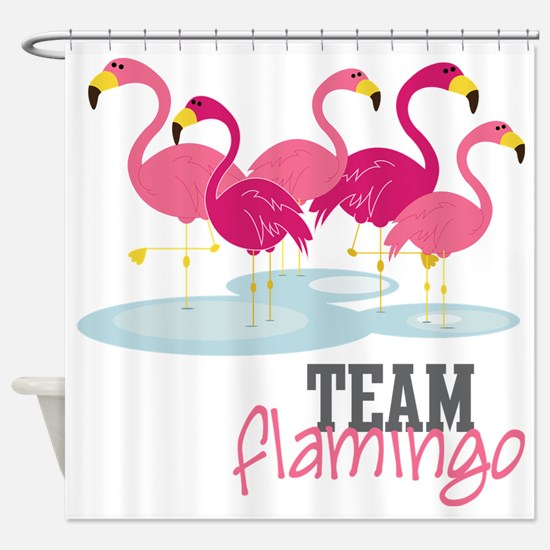 Team Flamingo Shower Curtain