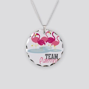 Team Flamingo Necklace Circle Charm