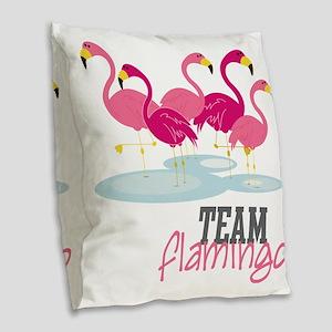 Team Flamingo Burlap Throw Pillow