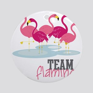 Team Flamingo Round Ornament