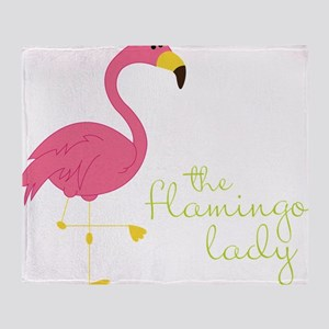 The Flamingo Lady Throw Blanket