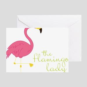 The Flamingo Lady Greeting Card