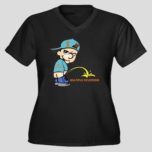 Piss on MS Women's Plus Size Dark V-Neck T-Shirt