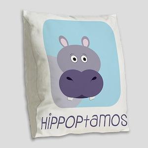 Hippopotamus Burlap Throw Pillow