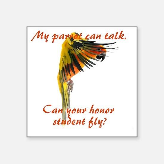 "Sun Conure my parrot can fl Square Sticker 3"" x 3"""