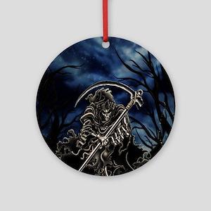 GRIM REAPER AT NIGHT Round Ornament