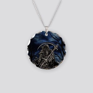 GRIM REAPER AT NIGHT Necklace Circle Charm