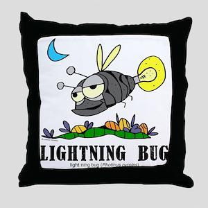 Cartoon Lightning Bug by Lorenzo Throw Pillow