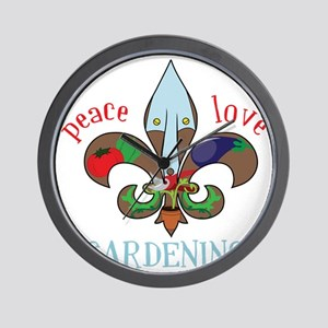 Peace Love Gardening Wall Clock